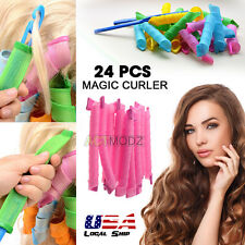 USA 24Pcs Hair Rollers DIY Curlers Large Magic Circle Twist Spiral Styling Tools