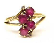 Vtg 18K Gold Natural Ruby Diamond Ring Sz 6 Cluster Estate Antique Round Cut