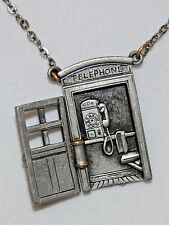 Vintage novelty pewter telephone booth pendant on chain necklace moveable