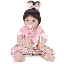 22'' Lifelike Reborn Baby Doll Girl Full Body Vinyl Silicone Handmade Kids Toy