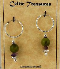 Irish Connemara Marble Sterling 16mm Hoop earrings w/ Amethyst chip beads