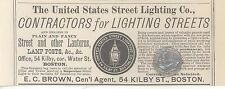 1879 E C Brown Boston Massachusetts Ad United States Street Lighting Company Adv