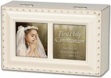 "FIRST COMMUNION Ivory Petite Photo Frame Music Box ""Ave Maria"""