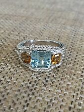 Judith Ripka QVC Sterling Silver Blue Topaz & Citrine Ring size 9