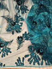 "TURQUOISE MESH W/PEACOCK BLACK VELVET GLITTER FLOCKING FABRIC 52""W 1 YD"