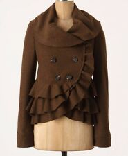 Anthropologie Frilled Echelons Peacoat Jacket in Brown by Elevenses - Size 4