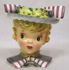 Gorgeous Lefton Head Vase Flowered Hat Striped Bows Beautiful Face 1960s