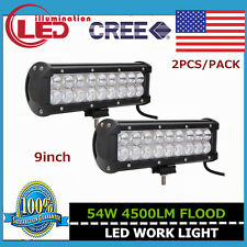 2X 9''Inch 54w CREE Led Work Light Bar Flood Beam Off Road Driving Truck SUV ATV
