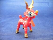 """VINTAGE RED WOODEN DEER ORNAMENT 3 3/4"""" TALL"""