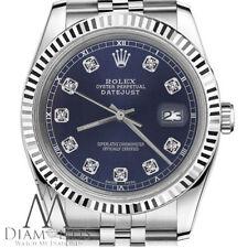 Navy Blue Rolex 26mm Datejust Diamond Face & White Track Classic Steel Jubilee
