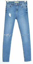 Topshop Skinny JAMIE High Waisted Blue RIPPED Stretch Crop Jeans Size 10 W28 L34