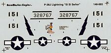 AEROMASTER 148-003 - DECALS 1/48 - P-38J LIGHTNING Si Si SENOR