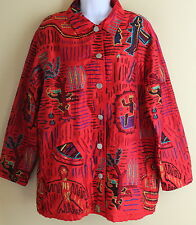 Chicos Art-to-Wear Red Amazing Embroidered Silk Tribal Tunic Long Jacket Sz 1 2