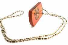 Elongated Beads Orange Dog Tag Pendant Bead Chain Necklace Mens Hip Hop Jewelry