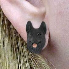 German Shepherd Black Tiny One Dog Head Post Earrings Jewelry