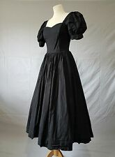 VINTAGE LAURA ASHLEY Dress Cotton Full BallGown Black Party Prom 80s 50s Uk 8