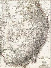 Echte 141 Jahre alte Landkarte Süd Ost AUSTRALIEN Brisbane Melbourne Sidney 1875