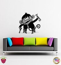 Wall Stickers Vinyl Decal Bad Monkey Funny Alcohol And Gun  (z1777)