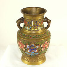 Antique Japanese champlevé jar, vase with griffin handles
