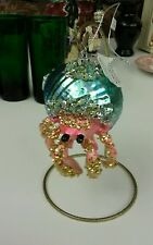 Bedazzled Blue Shell Hermit Crab Glass Christmas Ornament Decoration - NWT