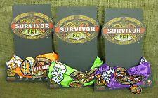 Original 2007 Survivor Fiji Buff Set of 3 (Green, Orange, Purple) on Logo Cards