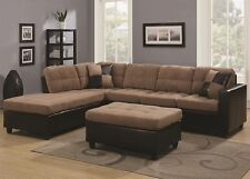 Tan Microfiber Sectional Sofa w/ Reversible Chaise Lounge Living Room Furniture