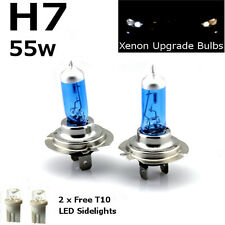 H7 55w SUPER WHITE XENON (499) 12v UPGRADE Head Light Bulbs + 501 LED Sidelights