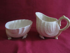 Irish Belleek Neptune Cane Yellow Lustreware Cream & Sugar Set