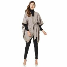 IMAN Platinum Rock the Runway Leather Wrap Swing Cape Taupe XL/1X NEW 357-112
