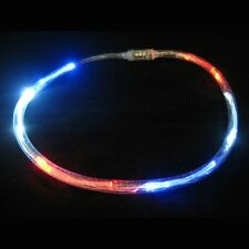 Light Up Flashing Red, White, And Blue Tube Necklace