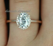 1.25 Ct Round & Oval Certified Diamond 14k Rose Gold Solitaire Engagement Ring