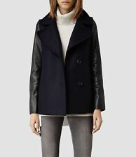 All Saints Ishba 80% Wool Peacoat Size 6 Ink/Navy Black Leather Sleeves RRP £349