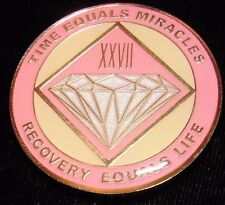 Alcoholics Anonymous AA NA PINK 27 Year Medallion Clean Token Chip sober Coin