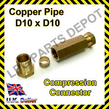 Conducto de cobre 10x10mm Recto Conector De Compresión Acoplamiento Conjunta de Agua Gas LPG