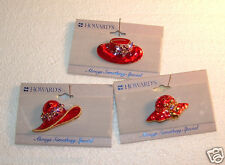 Three Red Hat lapel pins Enamel and Rhinestone Howard's Jewelry mixed metals
