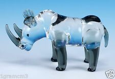 "Miniature Hand Blown Clear Boro Glass Rhinoceros Figurine 3.25"" Long New!"