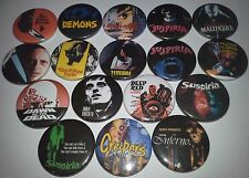 17 Dario Argento Button Badges Suspiria Tenebre Phenomena Inferno Creepers gore