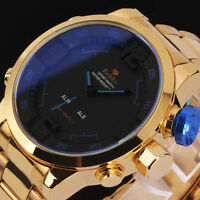 New Luxury Men's Date LED Gold Stainless Steel Digital Analog Sport Wrist Watch