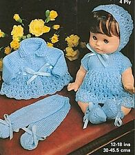 "KNITTING PATTERN BABY DOLLS CLOTHES 12-14-16-18"" 7 PIECE PRAM SET"