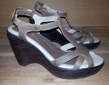 Jambu Sz 7 M MARBLE Taupe Brn Leather Strappy Sandal Wedge Heel Shoe Ankle Strap