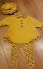 Gymboree Girls 3 piece set size 6-12 months yellow floral top pants hat baby