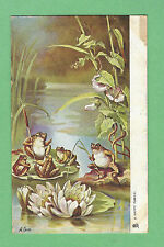 """FANTASY Cute FROGS on LILY PADS w/ FLOWERS floating on POND """"A Happy Family"""""""