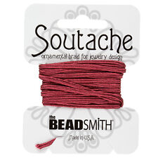 Beadsmith Soutache Rayon Cord 3mm Wide - Rose 3 yards (F39/4)