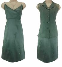 LARGE NWT SEXY Womens Light Green *SILK DRESS + VEST* Beads Wedding Summer NEW