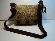 Its My Bag Green & Brown Cross Body/Messenger Bag, Embroidered Design Bow Accent