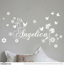 CUSTOM NAME & BUTTERFLY VINYL WALL STICKER FOR GIRLS REMOVABLE ART DECAL