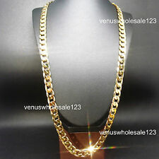 "10mm 24K Yellow Gold Filled 30"" Cuban Link Chain High Quality Necklace UK"