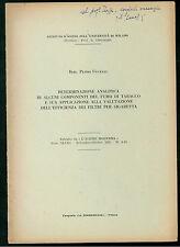 UCCELLI PLINIO DETERMINAZIONE ANALITICA FUMO TABACCO FILTRI DI SIGARETTA 1955