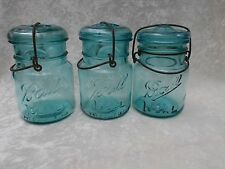 3 Vintage Aqua/Blue Glass Ball Ideal Canning Jars w/Lids & Wire Bails- 1908