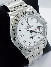 Rolex Explorer II 16570 GMT Stainless Steel Date White Dial Men's Watch *MINT*